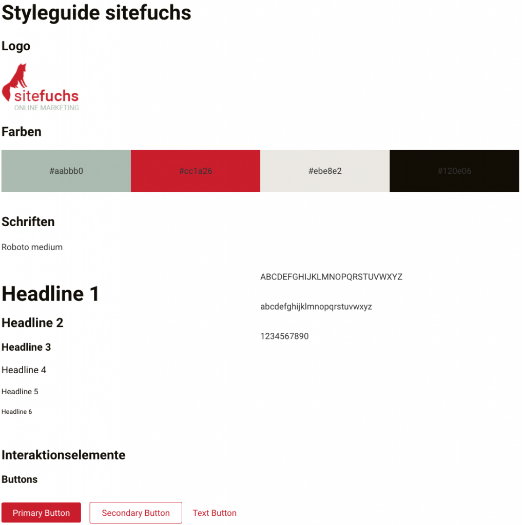Style Guide bei sitefuchs